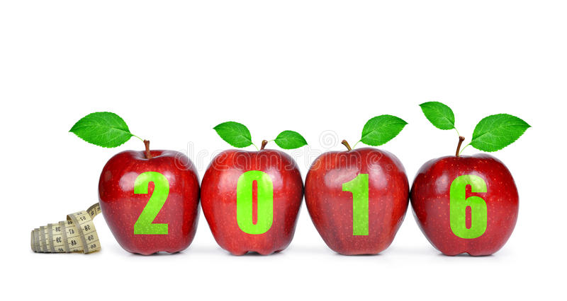 Healthy resolutions for the New Year 2016 stock image