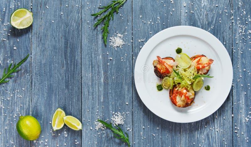 Healthy restaurant food. Ratatoille with shrimp stock image