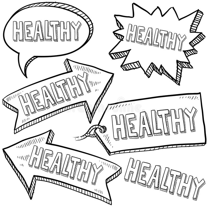Healthy retail tags and banners royalty free illustration