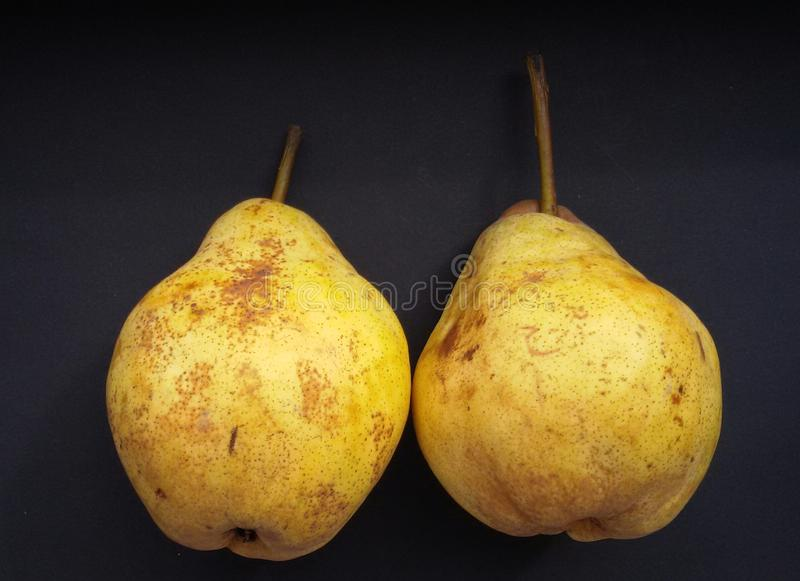 Ripe yellow pears, organic food. Fresh, soft and delicious. Healthy fruits. royalty free stock image
