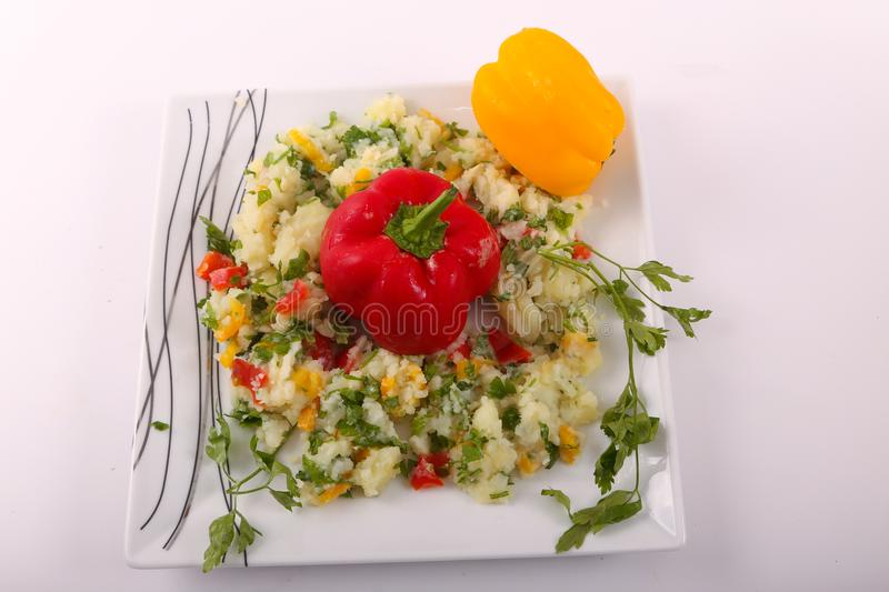 Healthy risotto on white plate view from above royalty free stock images