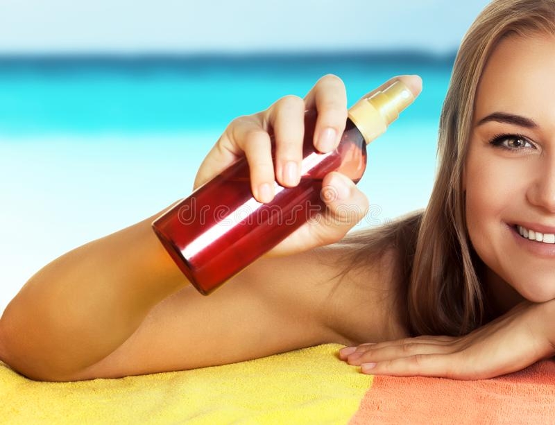 Healthy safe tanning concept royalty free stock photo