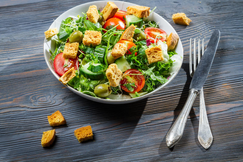 Healthy salad with chicken and fresh vegetables stock image