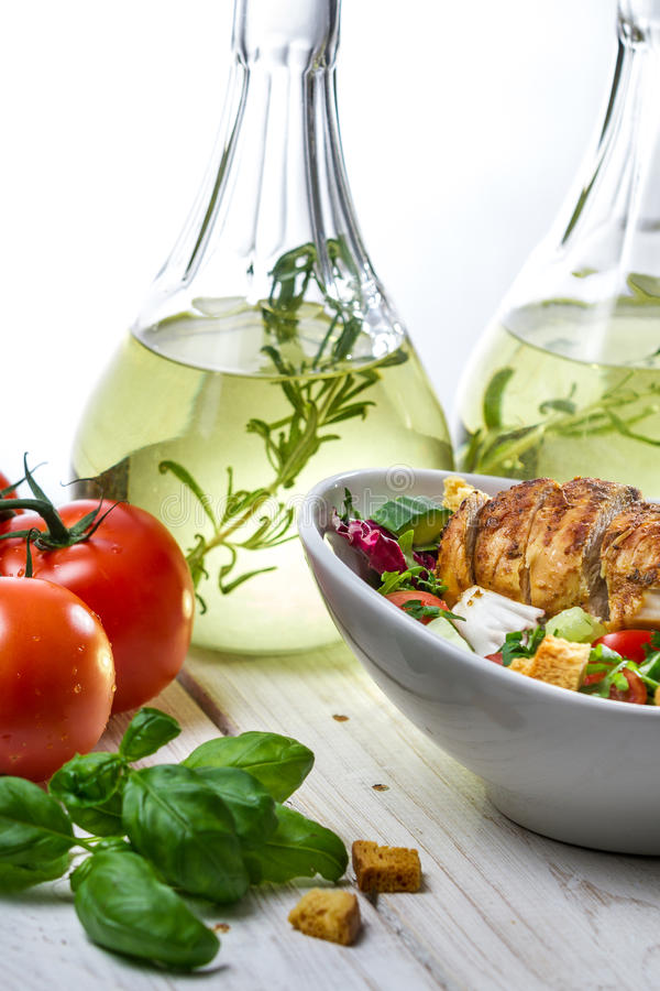 Healthy salad with chicken and ingredients stock photography