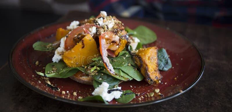 Healthy Salad Dish - Pumpkin Bruschetta in Australia royalty free stock photo
