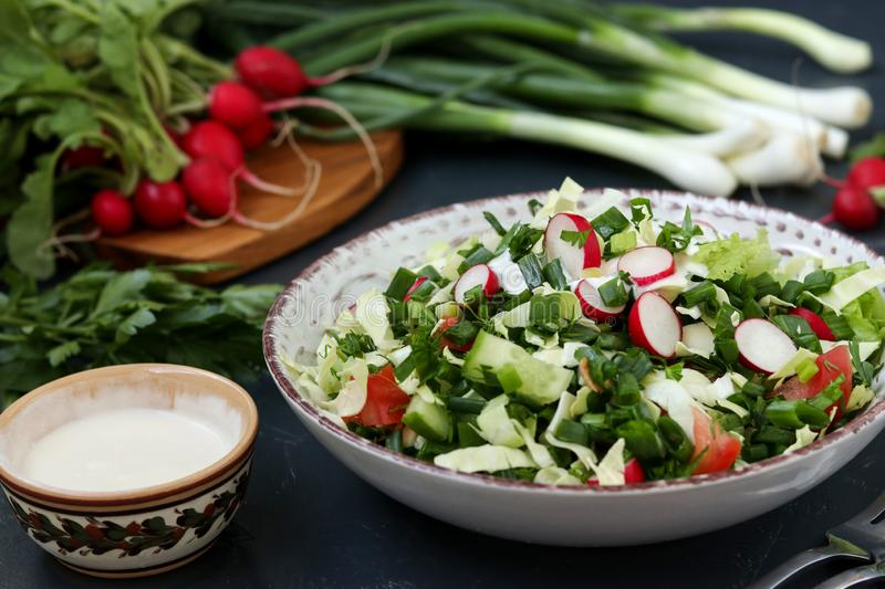 Healthy salad with fresh vegetables: radish, cucumbers, green onions, parsley, tomatoes, cabbage and spinach stock images