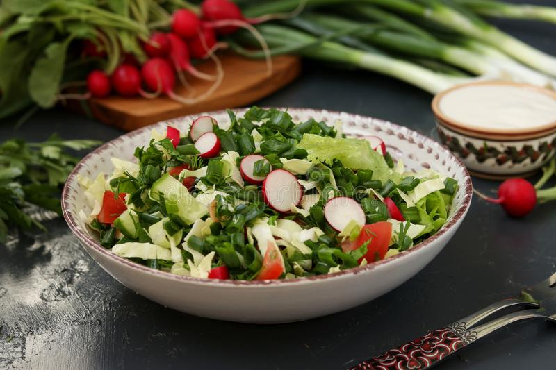 Healthy salad with fresh vegetables: radish, cucumbers, green onions, parsley, tomatoes, cabbage and spinach royalty free stock photo