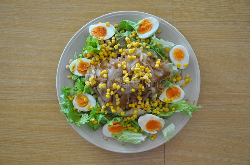 Healthy Salad and Healthy Food. Salad with eggs, corn, lettuce and onion. Weight loss- Diet royalty free stock photo