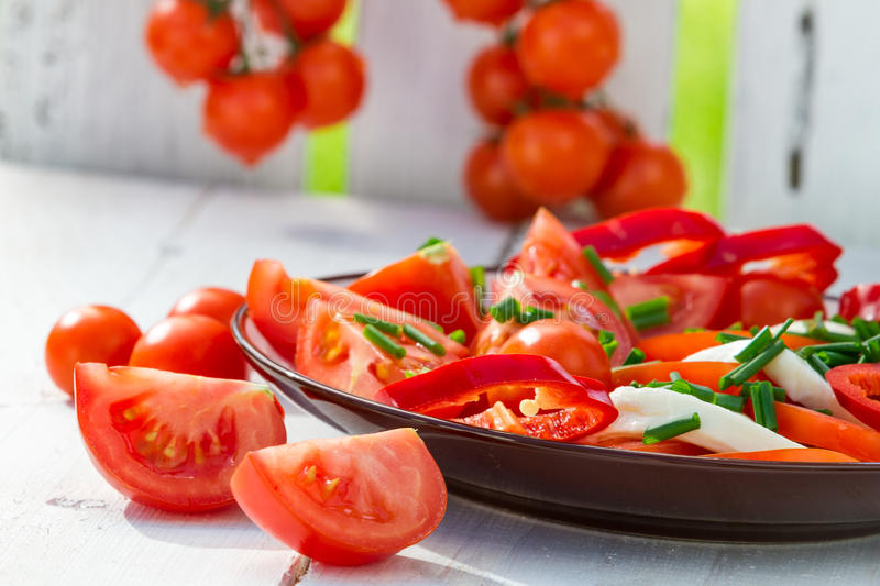 Healthy salad made of tomatoes stock photography