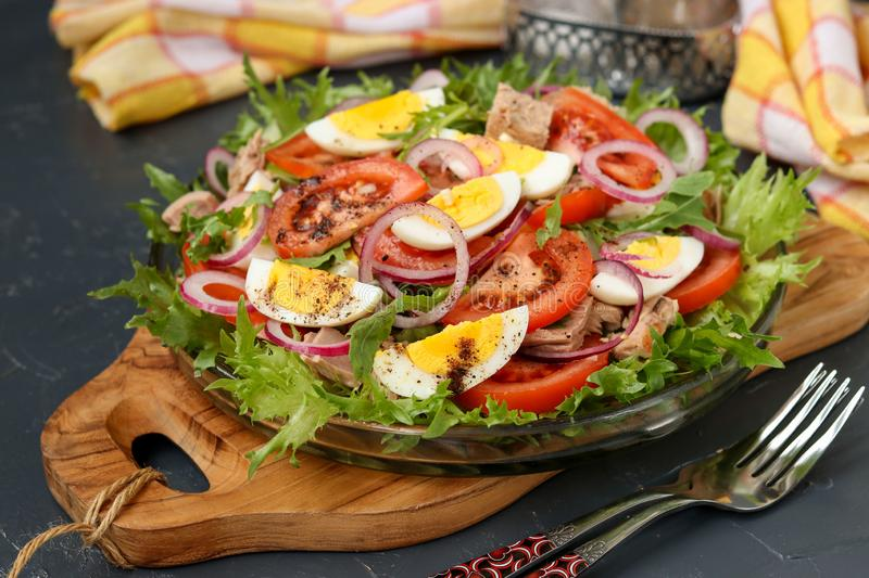 Healthy salad of organic salad with canned tuna, tomatoes, chicken eggs and red onion royalty free stock photography