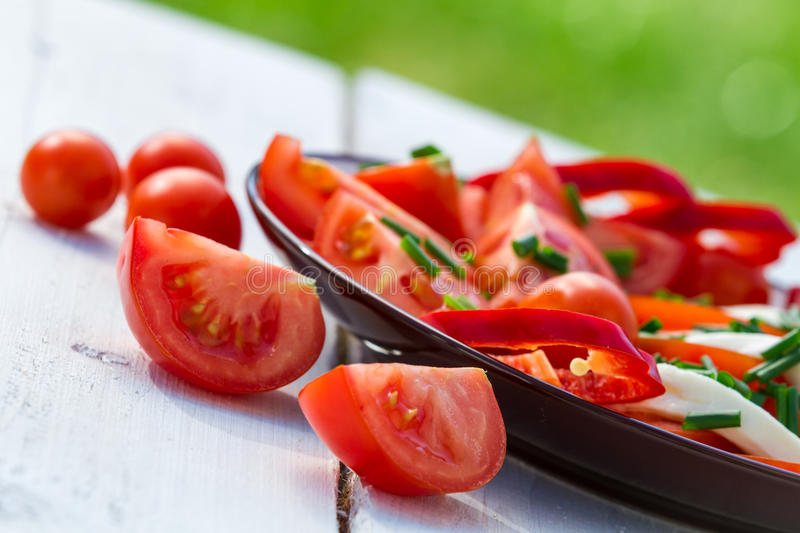 Healthy salad with tomatoes stock image