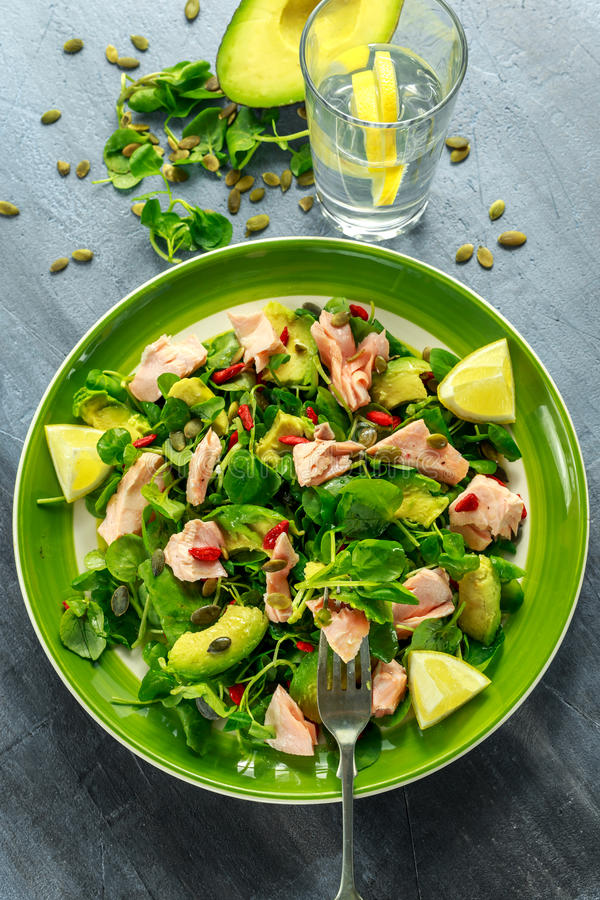 Healthy Salmon, Avocado salad with watercress and goji berries, pumpkin seed mix on green plate royalty free stock photography