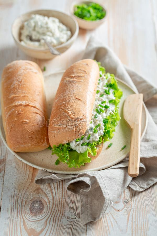 Healthy sandwich with crunchy bread, fromage cheese and chive. On wooden table royalty free stock photography