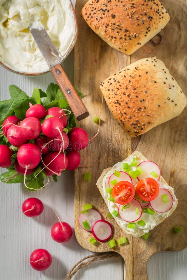 Healthy sandwich with crunchy bread, fromage cheese and radish. On white background stock image