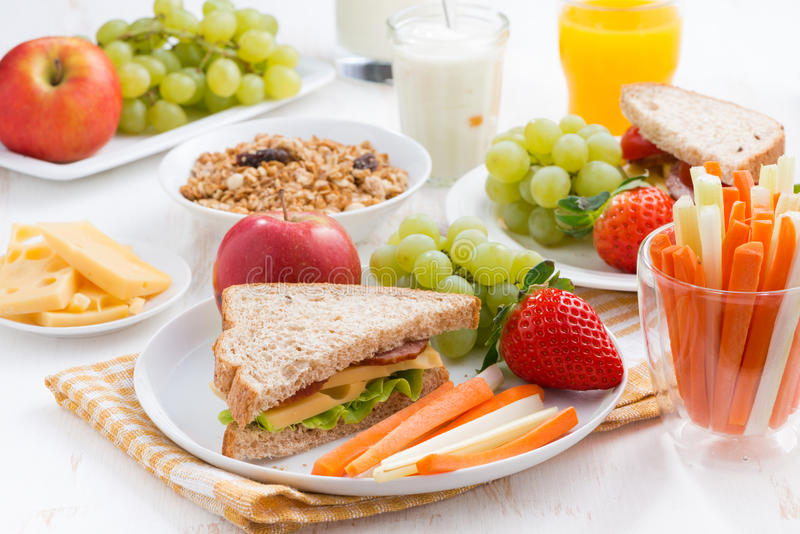 Healthy school breakfast with fruits and vegetables royalty free stock photo