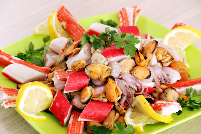 Healthy sea food on plate royalty free stock photos