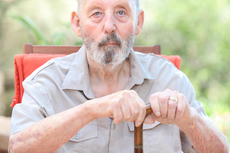 Healthy senior in care home, old man royalty free stock photos