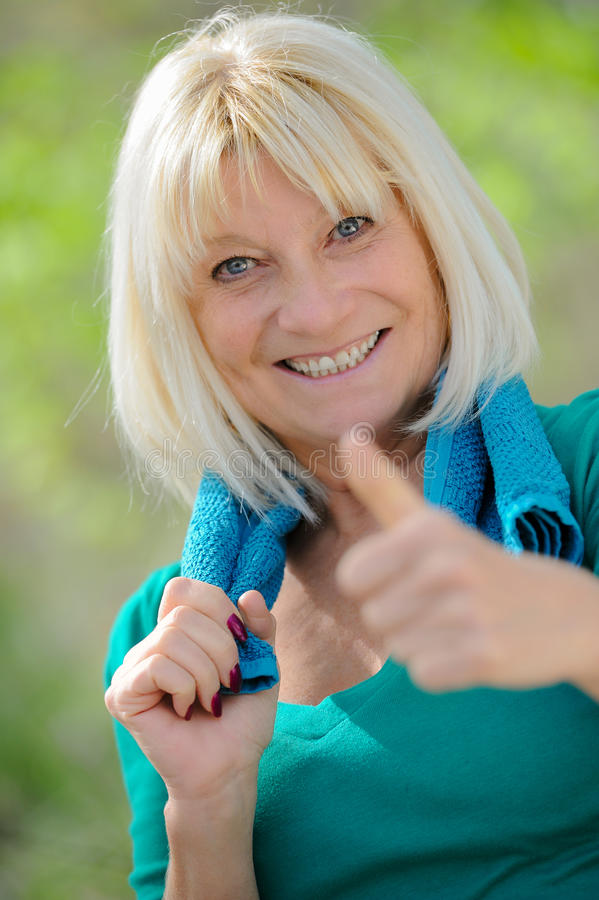 Healthy Senior happy. After exercising stock photography