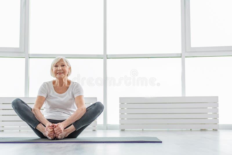 Healthy Senior Lady Exercising With Joy Stock Image