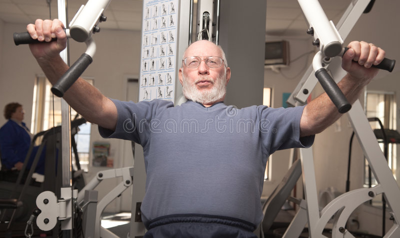 Healthy Senior Man in the Gym royalty free stock photos