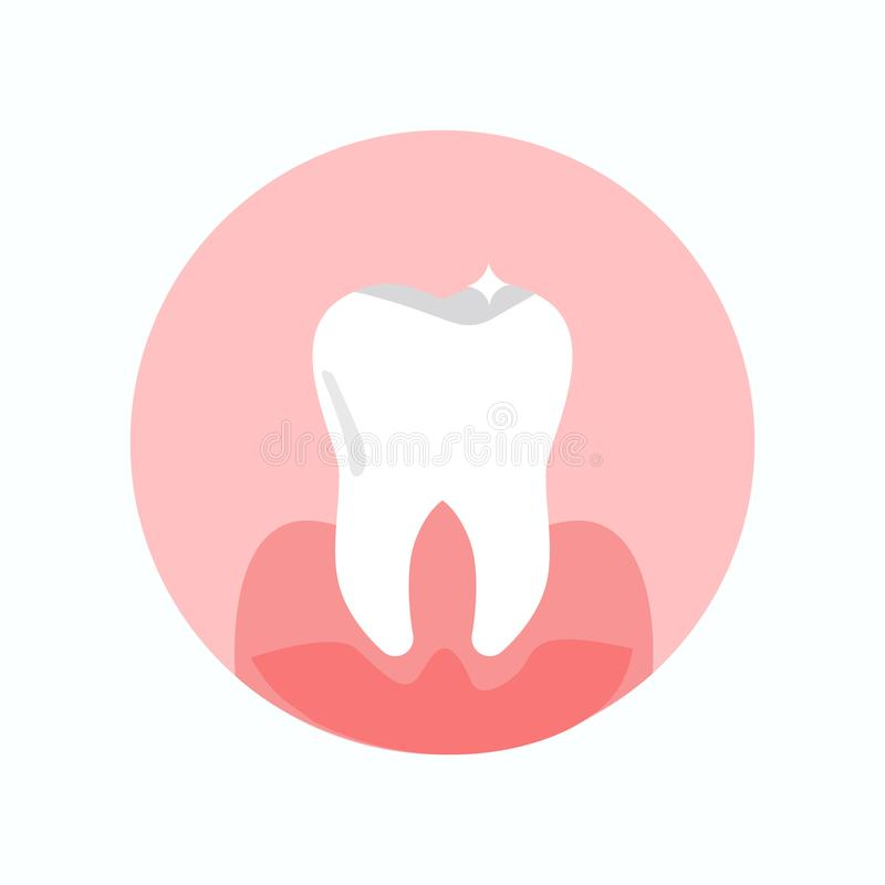 Healthy, Shiny Tooth Flat Vector Illustration. Dental Clinic, Stomatology Round Symbol. Tooth Fillings, Medical Help, Dentistry Service. Orthodontic Treatment vector illustration