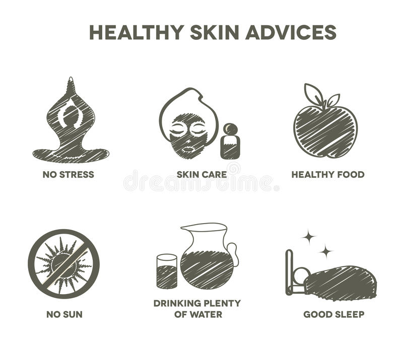 Healthy skin advices symbol collection. Hand drawn design royalty free illustration