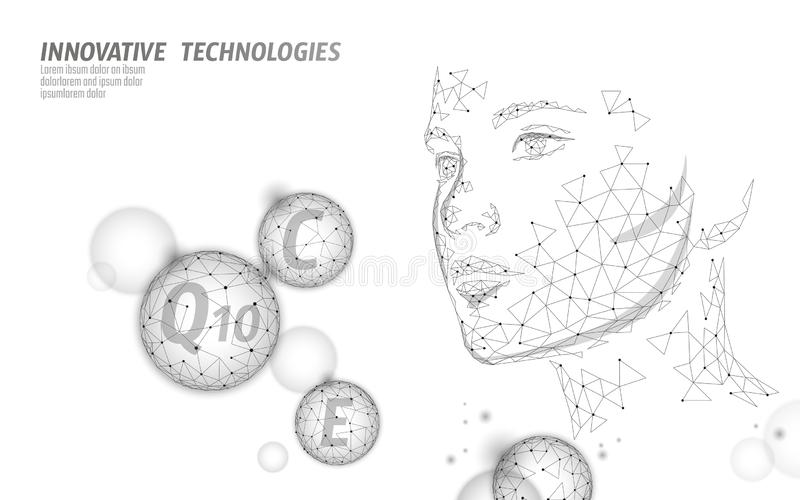 Healthy skin vitamin complex low poly sphere bubble. Health supplement female face anti-aging beauty cosmetics banner. Template. 3D coenzyme Q10, C, E. Medicine vector illustration