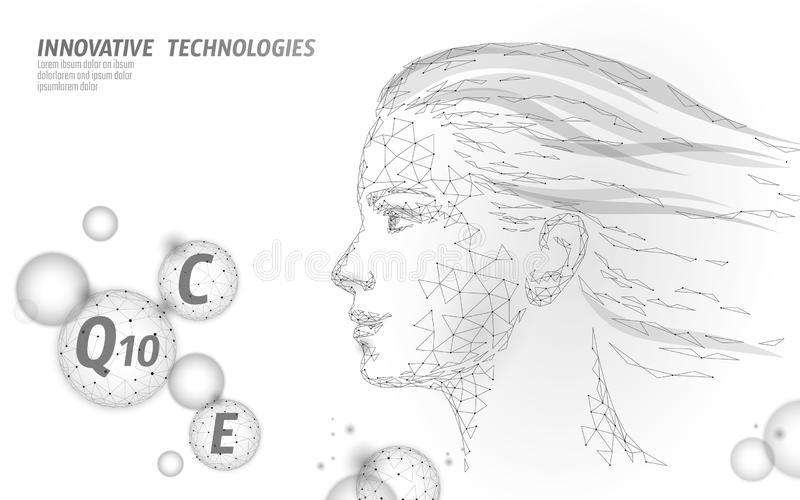 Healthy skin vitamin complex low poly sphere bubble. Health supplement female face anti-aging beauty cosmetics banner. Template. 3D coenzyme Q10, C, E. Medicine stock illustration
