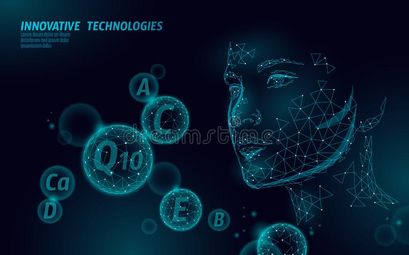 Healthy skin vitamin complex low poly sphere bubble. Health supplement female face anti-aging beauty cosmetics banner. Template. 3D coenzyme Q10, C, E. Medicine royalty free illustration
