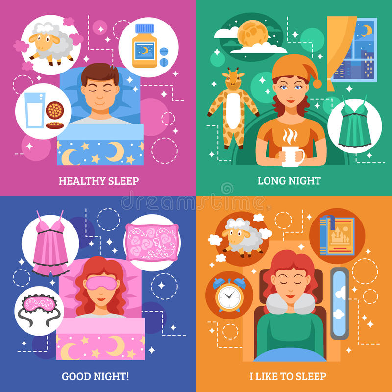 Healthy Sleep Concept Flat Icons Square royalty free illustration