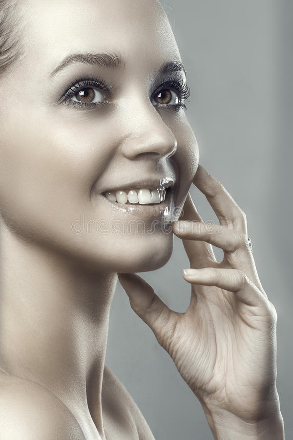 Healthy smiling beauty fashion young happy woman portrait. Photo royalty free stock photography