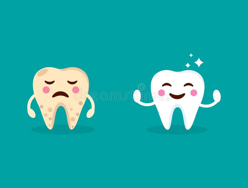 Healthy smiling teeth with shining stars. Crying yellow bad ill tooth. Teeth care design. Cute tooth with happy and sad emoji. Den royalty free illustration