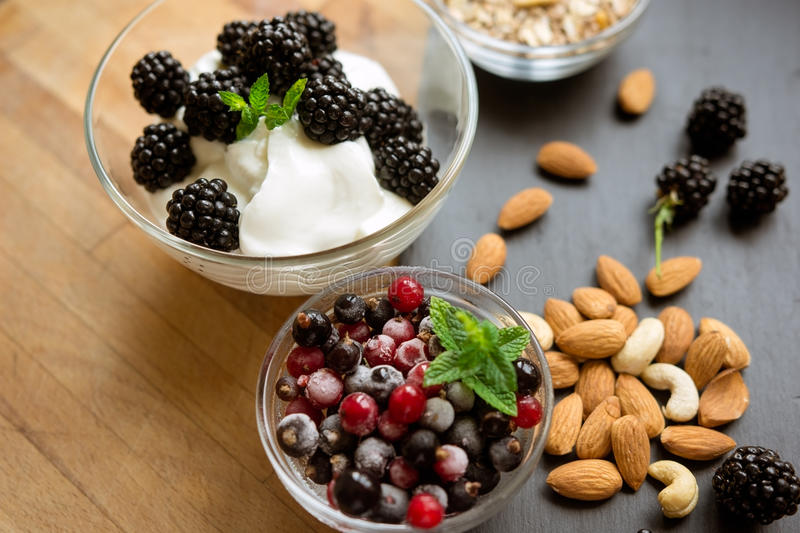 Healthy snack with fresh berries royalty free stock image