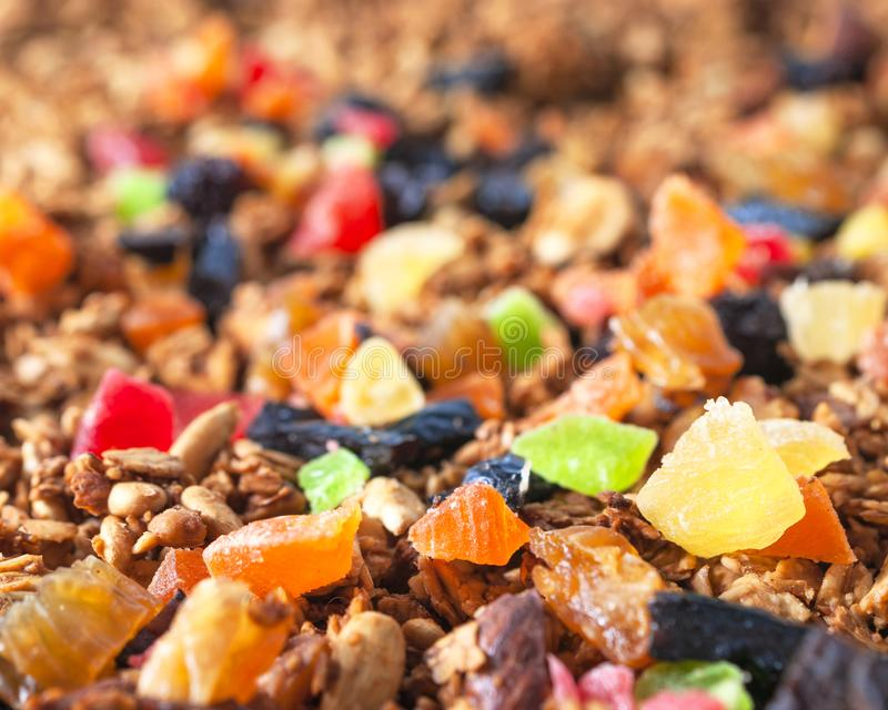 Healthy Snack, Meal. Freshly Toasted Organic Homemade Granola Cereal, Muesli Mixed With Honey, Nuts And Colorful Dry Fruits.  stock image