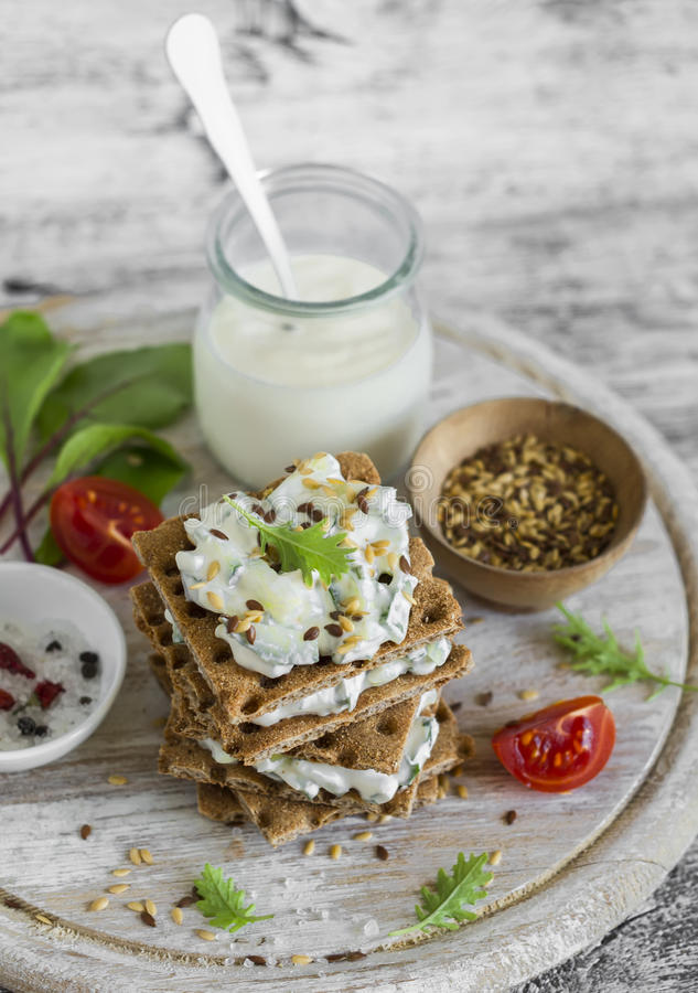 Healthy snack rye crackers cottage cheese with cucumber and flax download healthy snack rye crackers cottage cheese with cucumber and flax seed stock image sisterspd