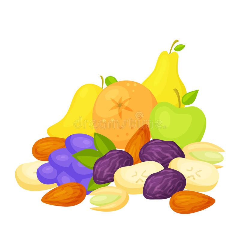 Healthy snack set. Healthy snack. Healthy food: fresh and dried fruits, nuts. A healthy breakfast: pear and apple, orange and grape, mango and prunes, dried royalty free illustration