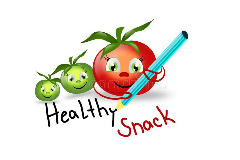 Healthy Snack With Tomatoes Stock Illustration ...