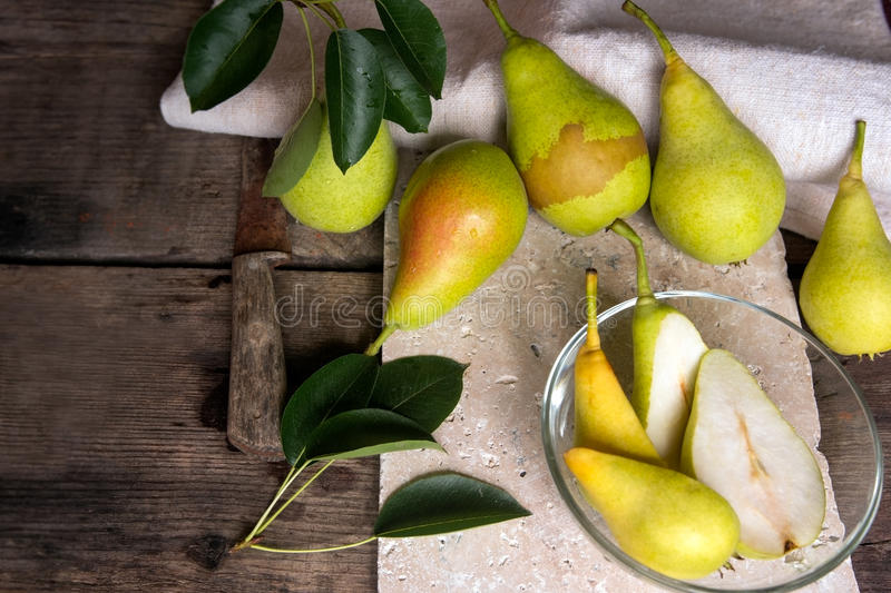Healthy snack, yellow pear, picked from organic culture royalty free stock images