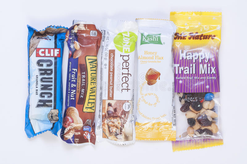 Healthy snacks. LAS VEGAS, USA - SEPTEMBER 12, 2014: Food and snack companies continuously compete to beat the competition with new healthy snacks with flashy stock photos