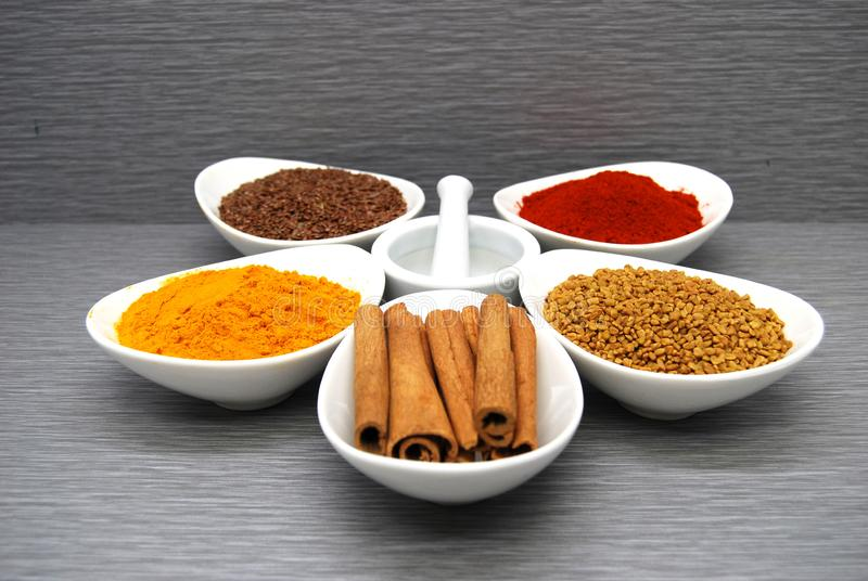 Healthy Spices Flax Seed, Chili Powder,  Fenugreek, Turmeric, and Cinnamon in a circle royalty free stock photo