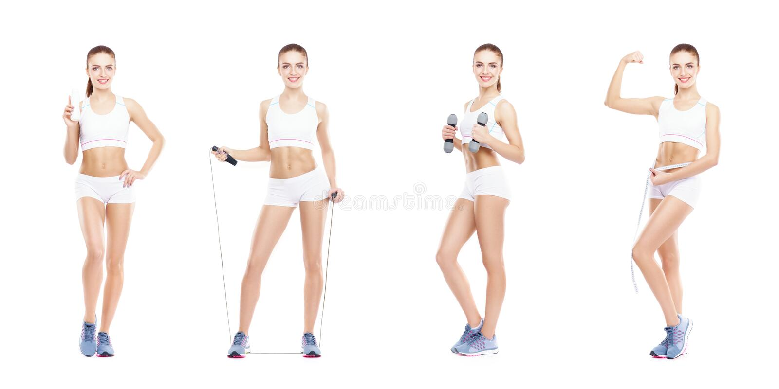 Healthy, sporty and beautiful girl isolated on white background. Woman in a fitness workout collection. Nutrition, diet royalty free stock images
