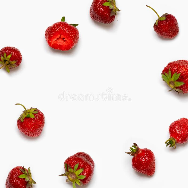 Healthy strawberry isolated on white background. Copy space. Top view, High resolution product. Healthy strawberry isolated on white background. Copy space vector illustration