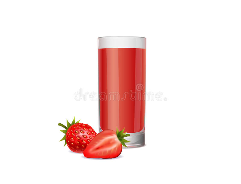 Healthy strawberry juice on a white background royalty free stock image