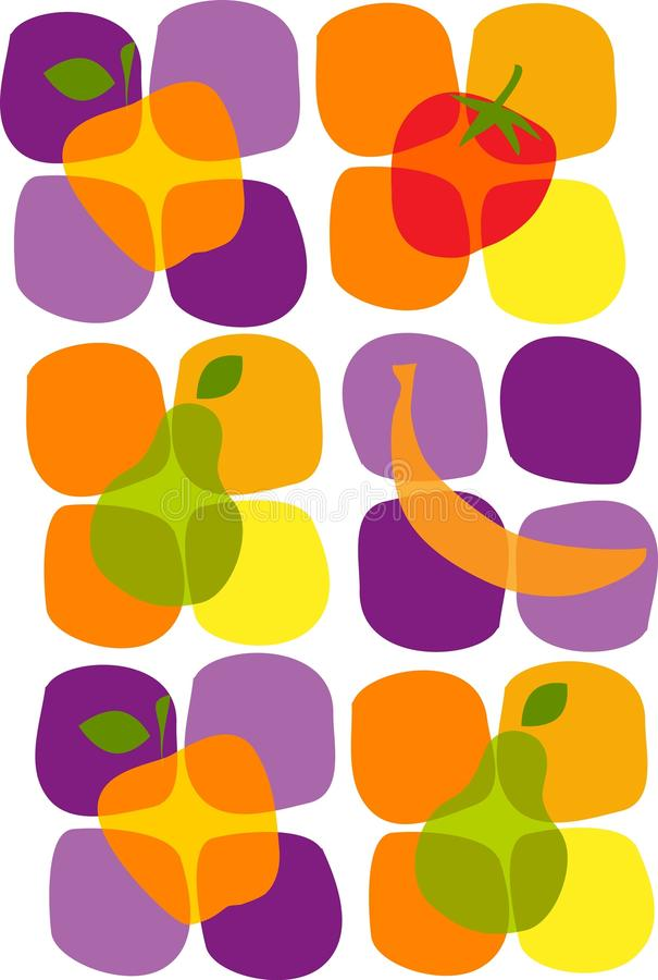 Healthy summer fruit icons vector illustration