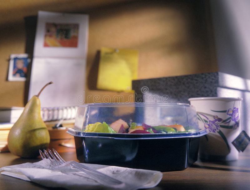 Healthy takeout lunch on desk. Healthy meal takeout lunch on desk royalty free stock photos