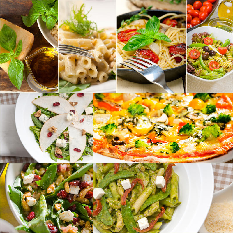 Italian Restaurant Near Me: Healthy And Tasty Italian Food Collage Stock Image