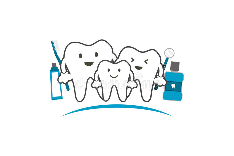 Healthy teeth family smile and happy, dental care concept. Tooth cartoon vector - healthy teeth family smile and happy with toothbrush toothpaste mouthwash and royalty free illustration