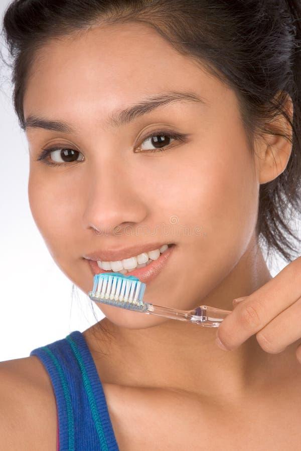 Healthy teeth of hispanic teen stock images