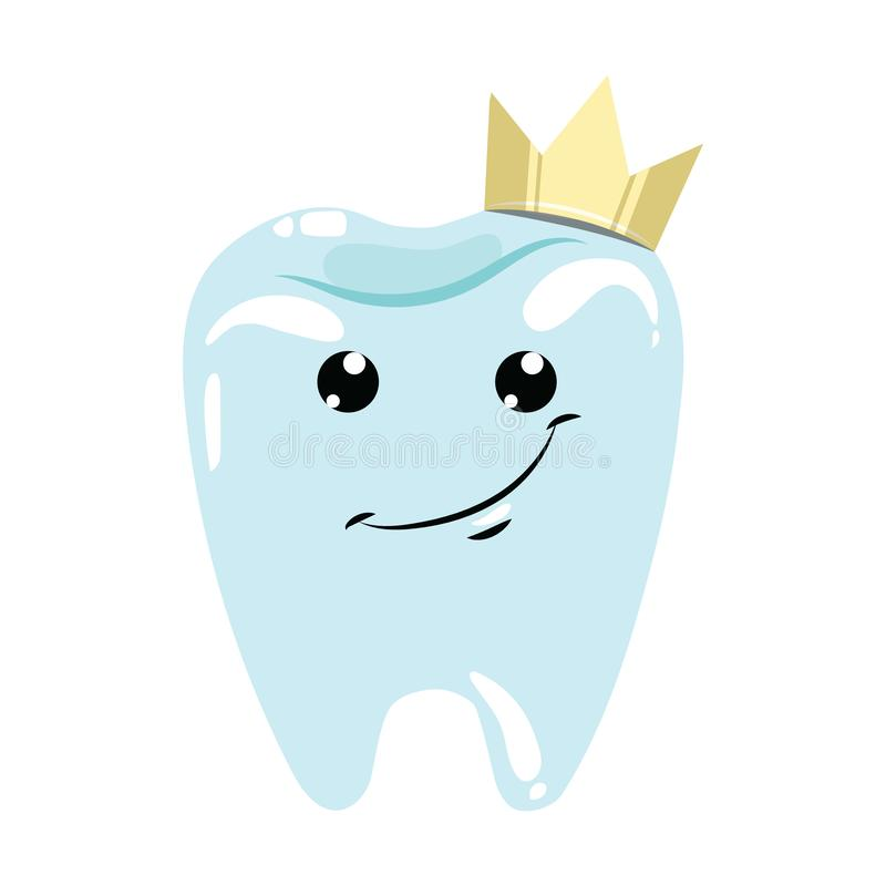 A healthy tooth with a crown. Hygiene of the oral cavity. Vector illustration for dental clinic. A cartoon drawing for. Children stock illustration