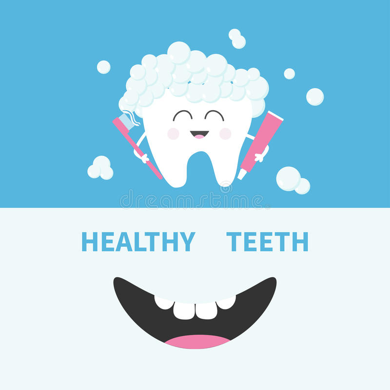 Healthy tooth holding paste and brush. Bubbles foam. Smiling mouth. Banner set. Cute cartoon character. Oral dental hygiene Childr. En teeth care icon. Baby royalty free illustration